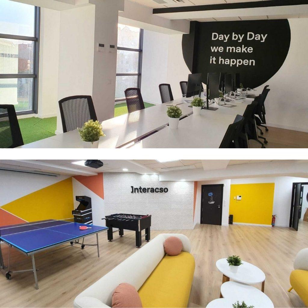 Se muestran dos fotos de la nueva sede de Interacso en Alicante